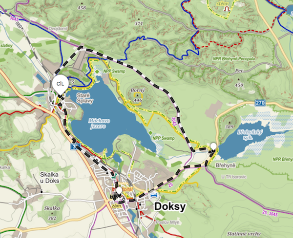 Mapka cyklotrasy kolem Máchova jezera